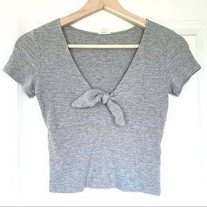 Tops - Grey Front Tie Short Sleeve Crop Top T-Shirt